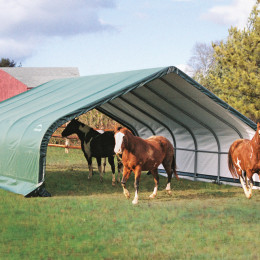 22x24x12 Peak Style Run-In Shelter, Green Cover