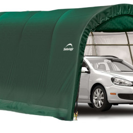 10x20x8 ft. / 3×6,1×2,4 m Round Style Auto Shelter, 1-3/8″ / 3,5 cm 5-Rib Frame, Green Cover