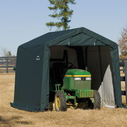 10x10x8 Peak Style Storage Shed, 1-3/8″ Frame, Green Cover