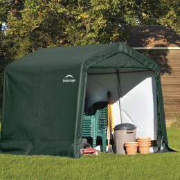 8x8x8 Peak Style Storage Shed, 1-3/8″ Frame, Green Cover