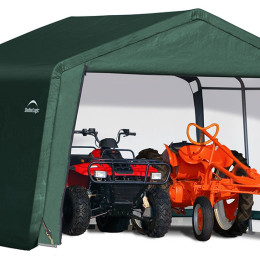 12x12x8 Peak Style Storage Shed, 1-3/8″ Frame, Green Cover