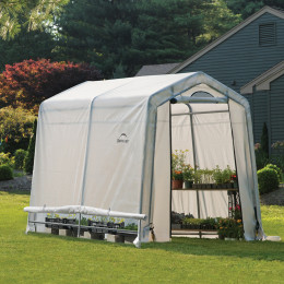 1,8×2,4×2 m Peak Style Grow It Greenhouse-in-a-Box, with Side Vents, 2-Zipper Door with Screened Window, Back Panel with Screened Window