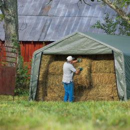 12x20x8 Peak Style Hay Storage Shelter, Green Cover