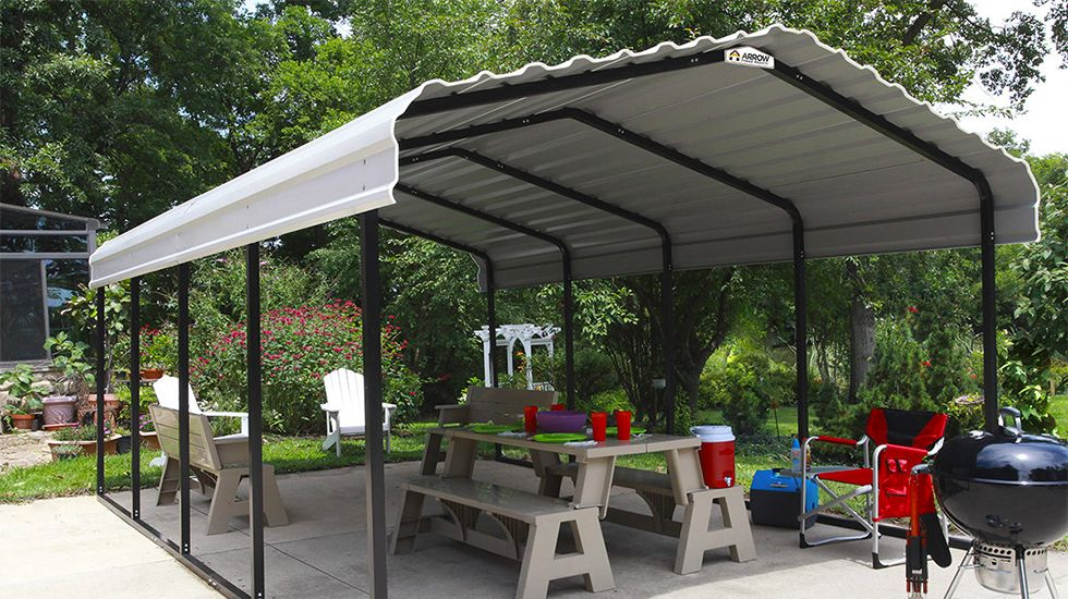 Picnic table under carport
