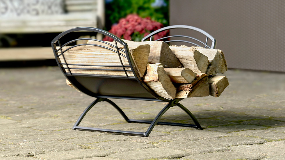 storing firewood, firewood rack, log holder, hearth accessory