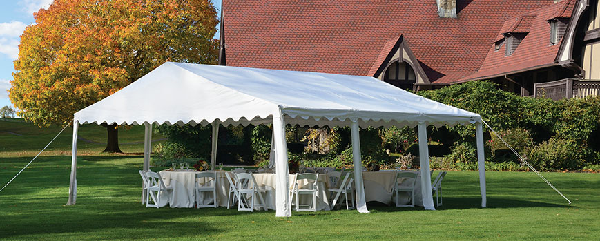 White Party Tent Outside House