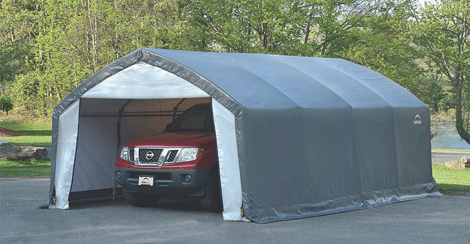 Canopy Garage Shelter : Meet the accelaframe hd shelter storage tent and outdoor