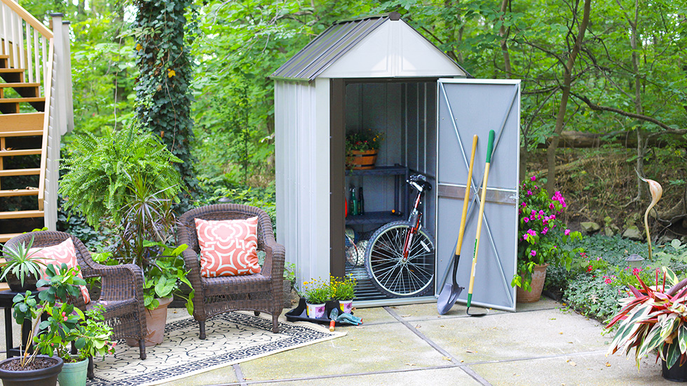 Small Shed Ideas to Maximize Compact Storage - ShelterLogic Corp. on small boathouse designs, glass greenhouses designs, small pre-built homes, small business designs, small spring designs, small garden designs, small floral designs, small bell tower designs, small science designs, small gazebo designs, small hotel designs, small green roof designs, small glass designs, small industrial building designs, small sauna designs, small greenhouses for backyards, small flowers designs, small wood designs, small carport designs, small boat slip designs,
